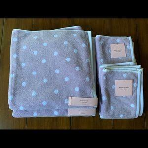 NWT Kate Spade Purple & White Polkadot Bath Towels
